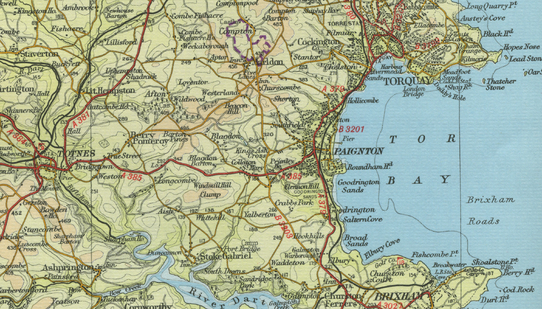 of paignton old map of the town of paignton circa 1950 click on the ...